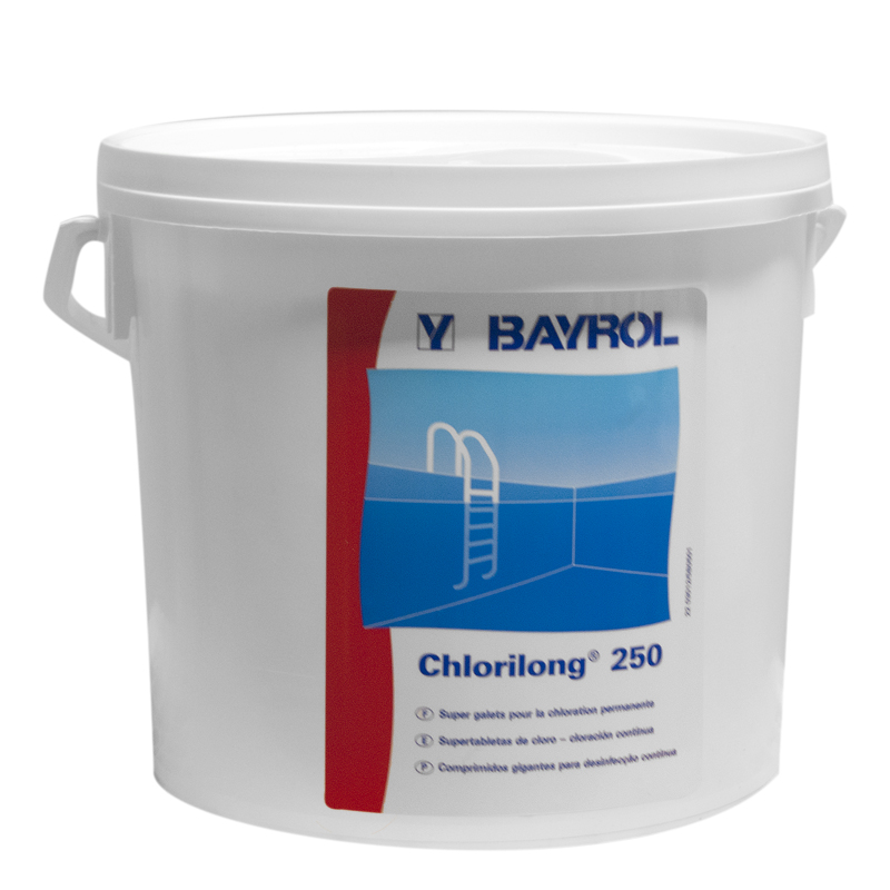 Chlore cchlorilong 250 bayrol lent quantit seau de 5 kg for Concentration chlore piscine