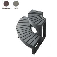 Escalier d'angle pour spa - 2 marches - coloris